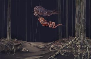 Tạo hình Krasue trong tâm linh người Thái. Ảnh: Helino