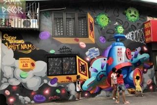 Chùm tác phẩm nghệ thuật Graffiti độc đáo với chủ đề Chung tay đánh bay COVID-19 - Ảnh 7.
