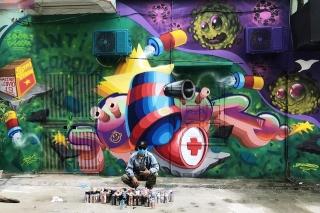 Chùm tác phẩm nghệ thuật Graffiti độc đáo với chủ đề Chung tay đánh bay COVID-19 - Ảnh 6.