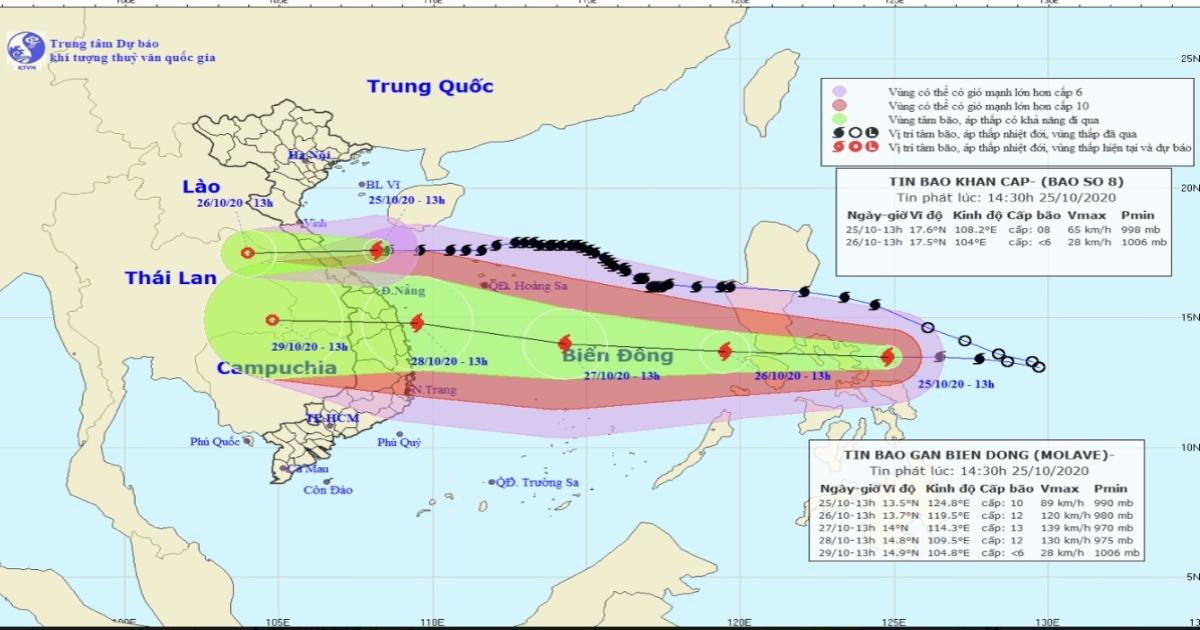 Bão số 8 cách đất liền 160km, bão số 9 hướng vào Đà Nẵng đến Phú Yên