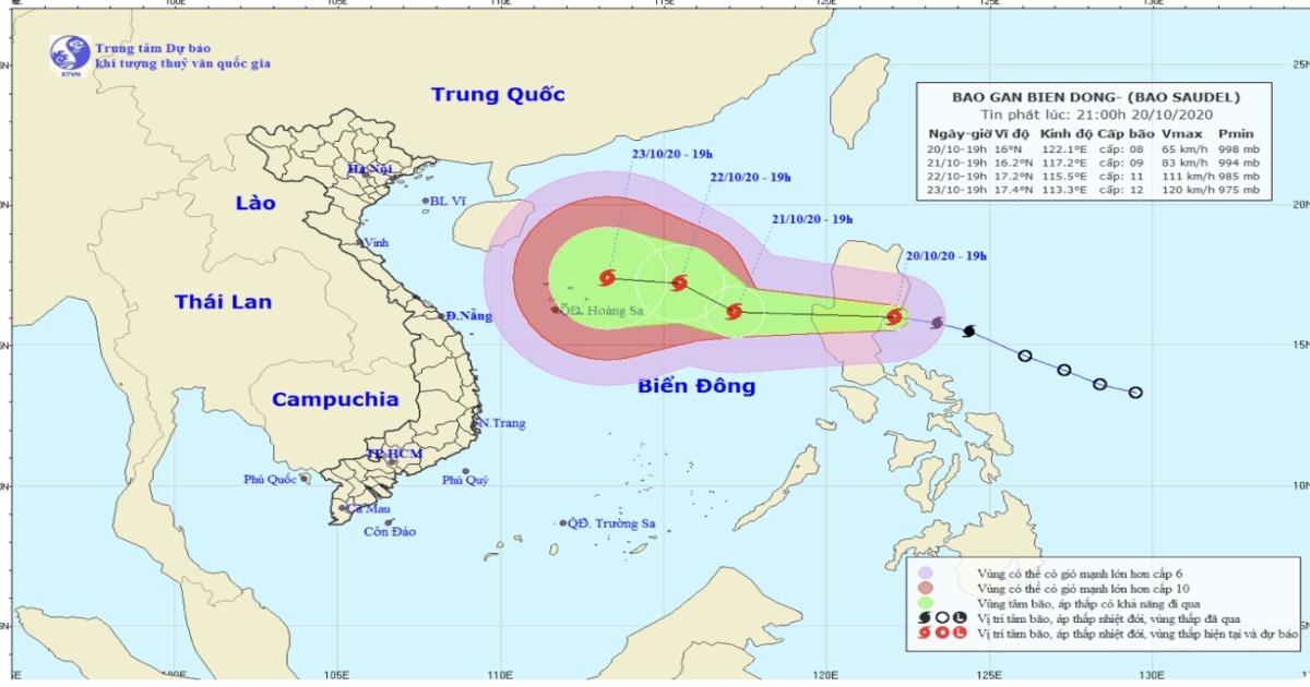 Sáng nay bão Saudel giật cấp 11 sẽ đi vào biển Đông
