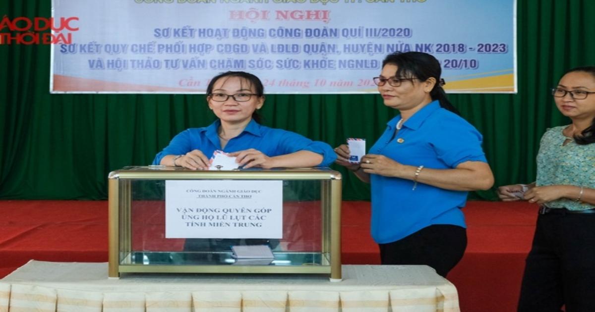Công đoàn ngành Giáo dục TP Cần Thơ hỗ trợ ngành Giáo dục các tỉnh miền Trung