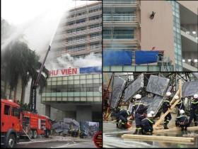 Cháy giả định ở thư viện đang có 700 người, huy động hơn 1.000 chiến sỹ dập lửa, cứu nạn