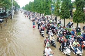 Đường phố Cần Thơ mênh mông như sông, dòng phương tiện bì bõm lội