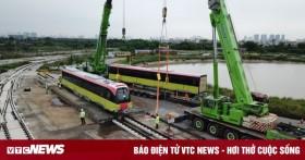 Cận cảnh những toa tàu đầu tiên được cẩu lên đường ray Nhổn - Ga Hà Nội